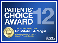 This is to Certify that Dr Mitchell Magid has been selected for Patients Choice Award 2012, as one of our favorite Dentists