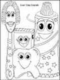 Coloring Page thumbnail - Four Friends, Tooth, Brush, Toothpaste and Floss
