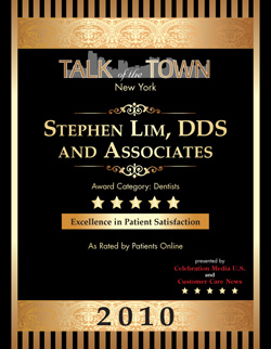 Dr. Lim rated Highest in Patient Satisfaction awarded Talk of the Town